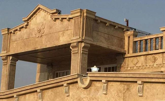 اجرای نمای سنگ تراورتن ساختمان
